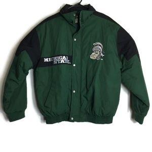 Vintage Logo 7 Michigan Spartans Puffer Jacket